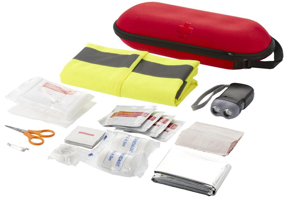 Kit de primeros auxilios de 47 piezas y chaleco reflectante de seguridad Handies