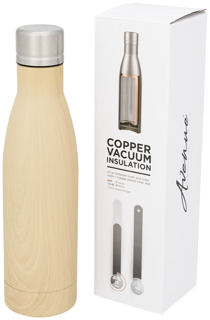 Vasa wood copper vacuum insulated bottle