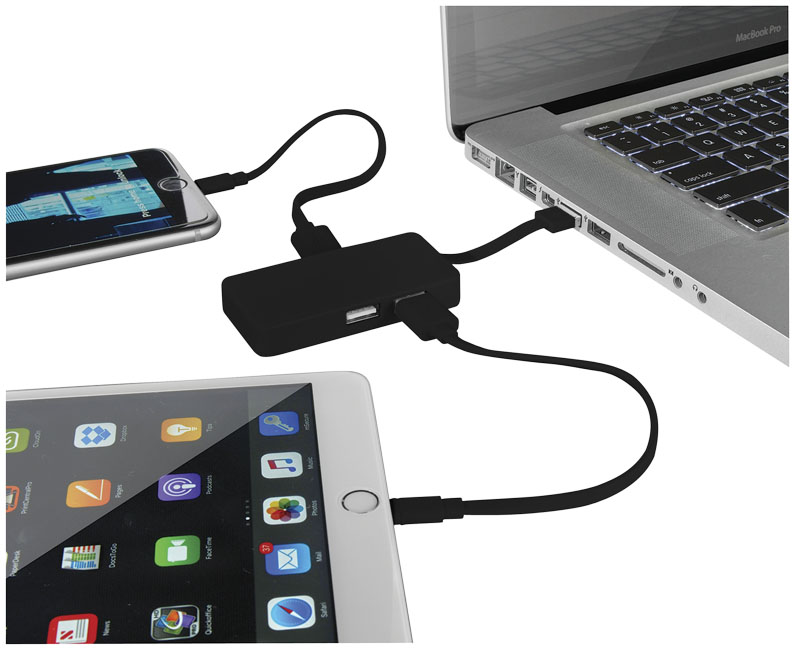 Grid 4-port USB hub with dual cables
