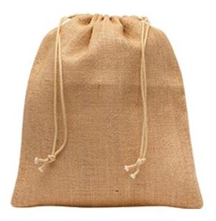 Medium jute bag, with drawstrings