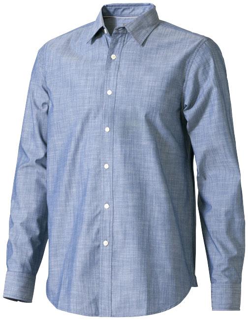 Camisa de popelina jaspeada e manga comprida de homem Lucky
