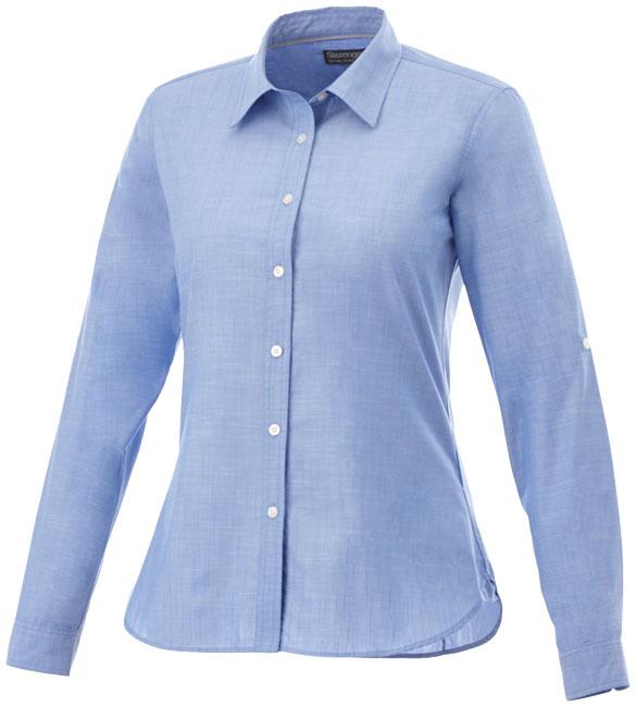 Camisa popelina jaspeada e manga comprida de mulher Lucky