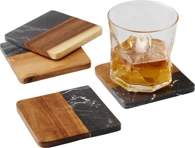 Bases para copos em madeira e mármore Harlow