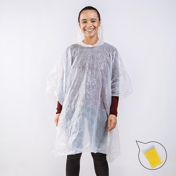 Emergency plastic poncho with hood