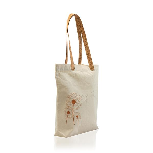 Cotton tote bag with cork straps