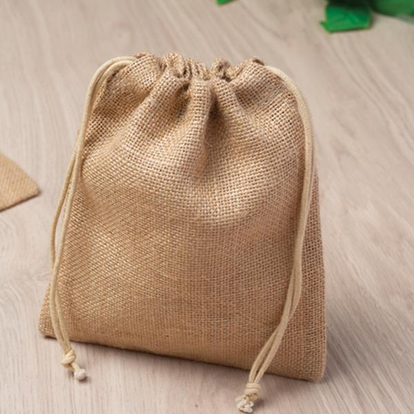 Small jute bag, with drawstrings