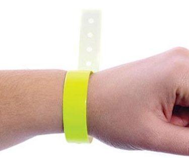 Pulseira de identificação inviolável fluorescente