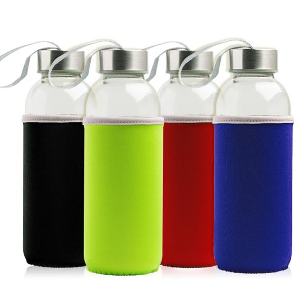 Glass bottle with metallic lid and neoprene sleeve