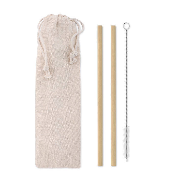 Bamboo Straw W/brush In Pouch - Natural Straw