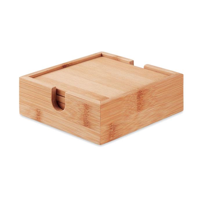 4 bases para copo em bambu com suporte - MENDI