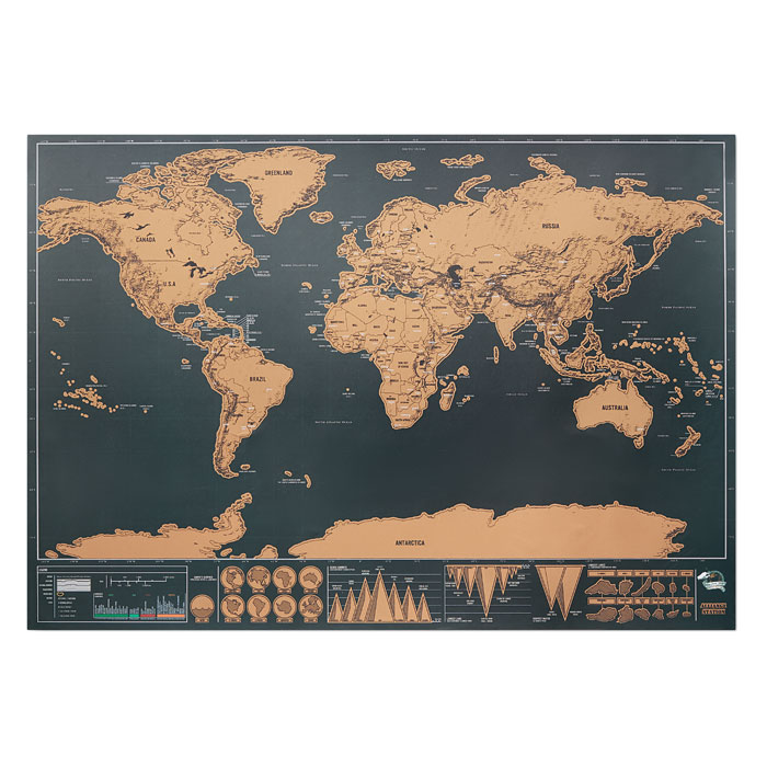Scratch world map 42x30cm - BEEN THERE