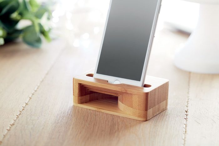 Bamboo phone stand and amplifier