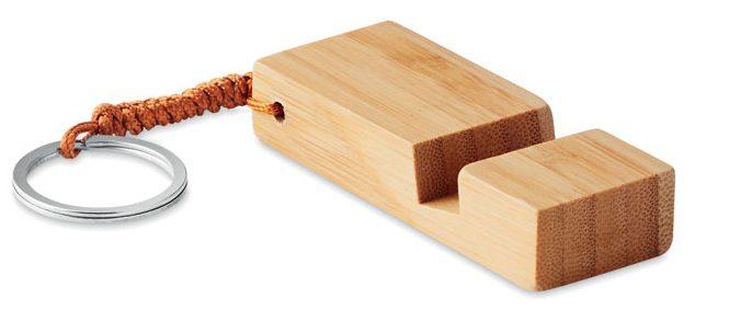 Porta-chaves em bambu suporte para smartphone