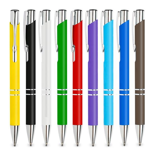 Metallic ball pen with rubber coating