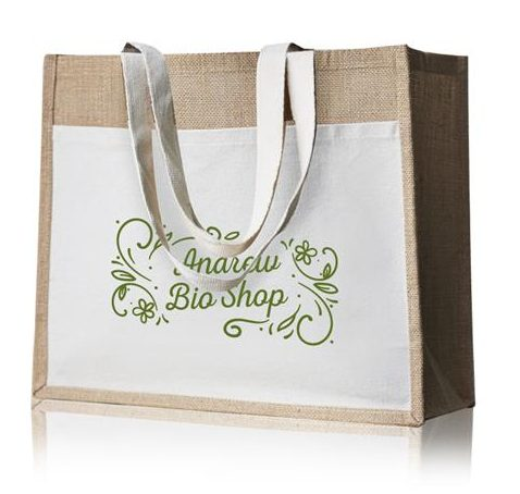 100%  Jute bag with cotton front pocket