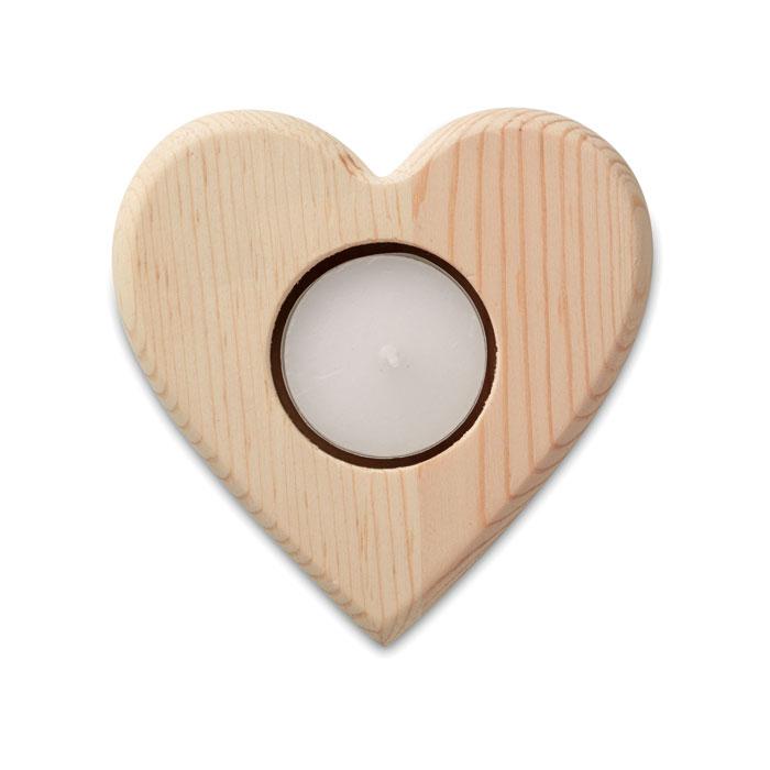 Portavelas en madera  en forma de corazón