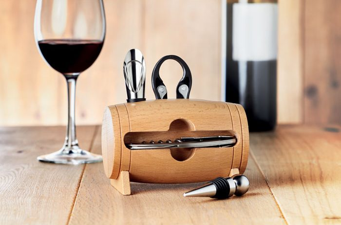 4 pcs wine set in wooden stand - BOTA