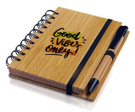 A6 Bamboo notebook with recycled paper pages