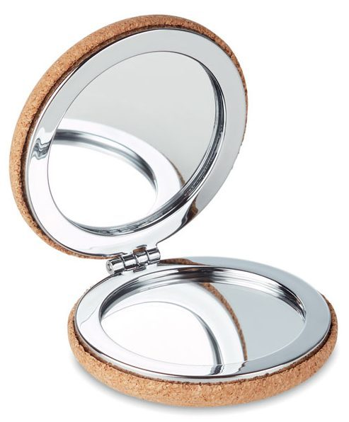 Foldable pocket mirror with cork cover