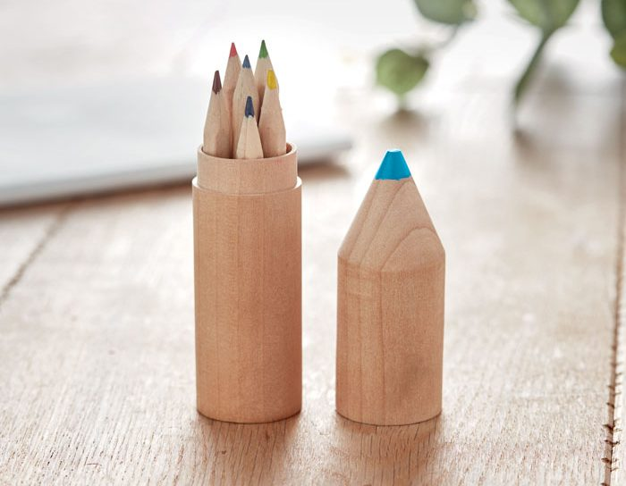6 pencils in wooden box - PETIT COLORET