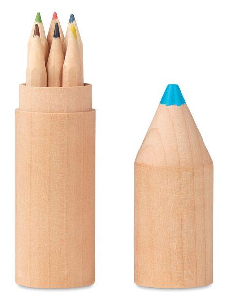 6 Pencils In Wooden Box - Petit Coloret