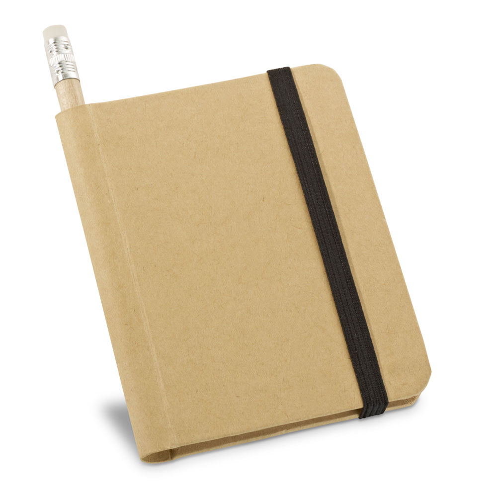 Recycled paper notepad and pencil