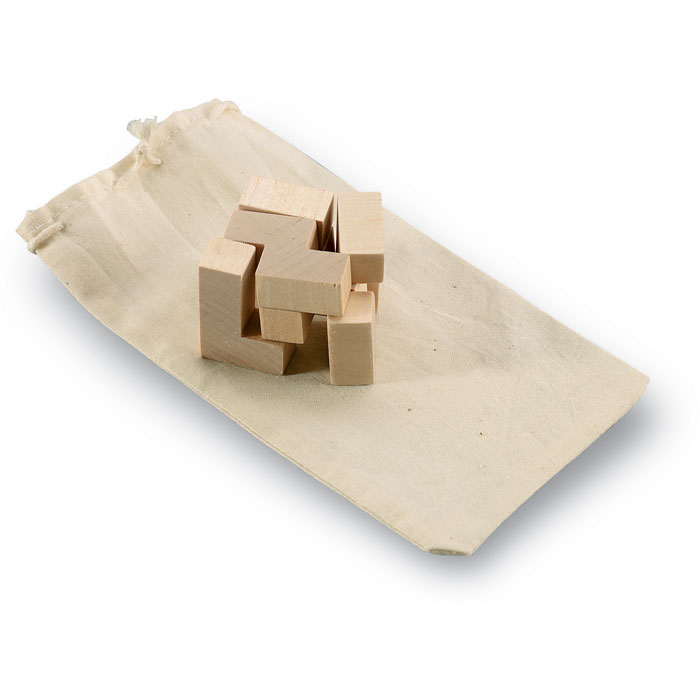 Wooden puzzle in cotton pouch - TRIKESNATS