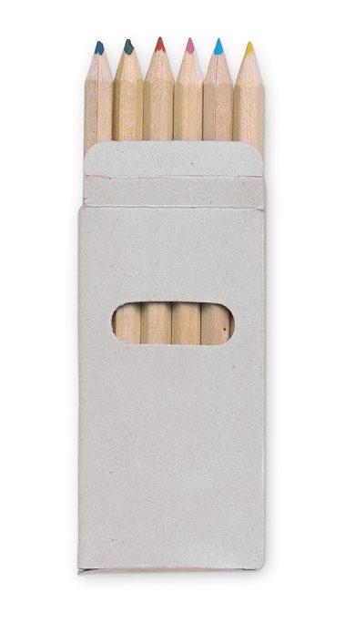 6 Coloured Pencils In Box - Abigail